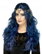 Gothic-Stirnband mit Mond Halloween-Accessoire silber-schwarz
