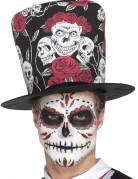 Halloween-Zylinder Dia de los Muertos schwarz-bunt