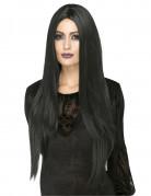 Lange Hexen-Perücke glatt schwarz