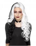 Zweifarbige Halloween-Langhaarperücke für Damen Kostümzubehör weiss-schwarz