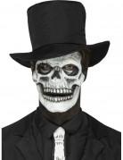 Latexapplikation Skelettgesicht schwarz-weiß