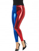 Zweifarbige Leggings Halloween-Kostümzubehör blau-rot