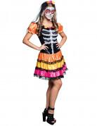 Schickes Tag der Toten Kleid mit Skelettmotiv schwarz-bunt