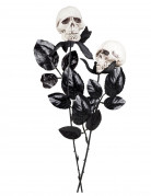 Totenkopf-Rose Halloween-Accessoire schwarz-weiss 45cm