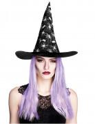 Hexenhut mit Spinnennetzen und Perücke Halloween-Accessoire schwarz-weiss