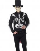 Skelettierter Gentleman Halloween-Herrenkostüm Dia de los Muertos schwarz-weiss-beige