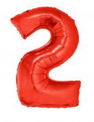 Zahlenballon Ziffer 2 Folienballon rot 102cm