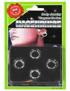 4 Piercing Ringe Scherzartikel