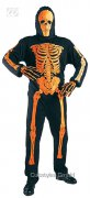 Neon Skelett-Kostüm Halloween schwarz-orange