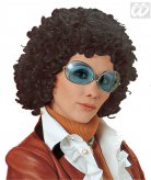 70er Perücke Locken Bob dunkelbraun
