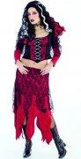 Gothic Hexe Damenkostüm schwarz-rot