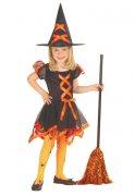 Hexe Halloween-Kinderkostüm schwarz-orange