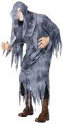 Zerfetzte Totengräber Halloween-Robe mit Kapuze grau