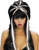 Toupierte Halloween Perücke mit Spinne schwarz-weiss