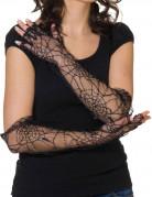 Handschuhe fingerlos mit Spinne schwarz