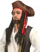Totenkopf-Piratenhut mit Zöpfen für Kinder braun