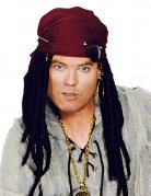 Piraten-Perücke mit Kopftuch und Schmuck schwarz-rot