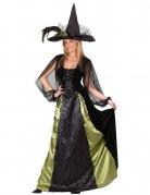 Elegante Gothic-Hexe Halloween Damenkostüm Zauberin schwarz-grün