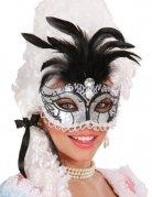 Maskenball Augenmaske mit Glitzer-Steinen und Federn silber-schwarz