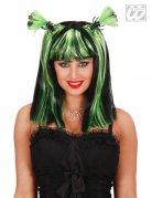 Gothic Halloween-Perücke mit Spinnen schwarz-grün