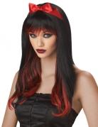 Halloween Langhaar Perücke mit Strähnen schwarz-rot