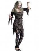 Zombie-Lady Halloween Damenkostüm grau-schwarz