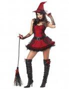 Zauberhafte Hexe Halloween Damenkostüm schwarz-rot