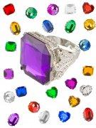 Silberfarbener Ring mit Stein bunt
