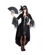 Venezianisches Gothic-Vampirin Damenkostüm schwarz-silber