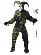 Böser Clown Harlekin Halloween-Kostüm schwarz-grün