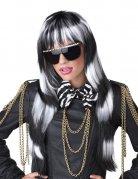 Lady Popstar Langhaar Perücke schwarz-weiss