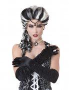 Barock Gothic Halloween Damenperücke schwarz-weiss