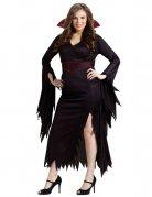 Gothic Vampirin Halloween Damenkostüm Übrgrösse schwarz-rot