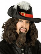 Musketier Hut mit Feder schwarz-rot