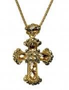 Gothic Kreuz-Kette mit Schmucksteinen gold