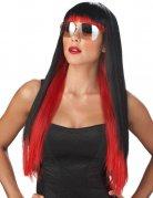 Langhaar-Perücke mit Pony Popstar Kostümaccessoire Halloween schwarz-rot