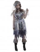 Zombie Piratin Halloween Damenkostüm grau