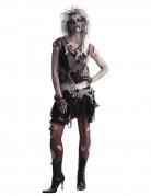 80er Zombie Punk Halloween Damenkostüm schwarz-grau