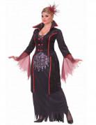 Vampirin Halloween-Damenkostüm XL schwarz-rot