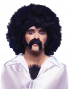 60er 70er Set mit Bart, Koteletten und Brusthaar-Toupet schwarz