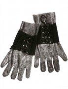 Mittelalter Ritter Handschuhe silber-schwarz