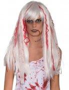 Blutige Halloween-Perücke weiss-rot