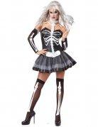 Sexy Skelett Damenkostüm schwarz-weiss