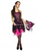 Gothic Corsagen-Kleid mit Spitze schwarz-pink