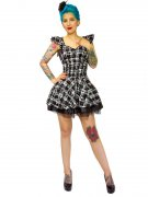Hearts and Roses Rockabilly 50er Petticoat-Minikleid Karo schwarz-weiss