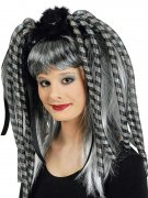 Haarteil mit blinkenden Strähnen silber-schwarz