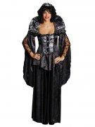 Mittelalter Gothic Königin Damenkostüm schwarz-silber