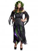 Hexen-Kostüm für Damen Halloweenkostüm schwarz-grün