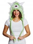 Süßes Monster Fell-Mütze grün-weiss
