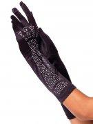 Skelett-Handschuhe Strasssteine lang schwarz-silber